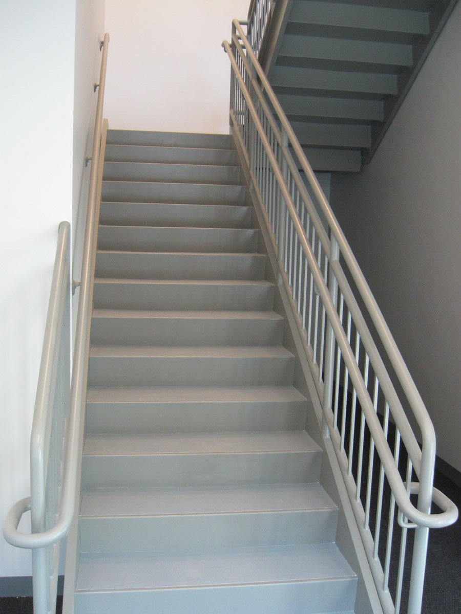 ... Stairs With Railings; Interior Commercial Guardrail With Offset  Handrail ...