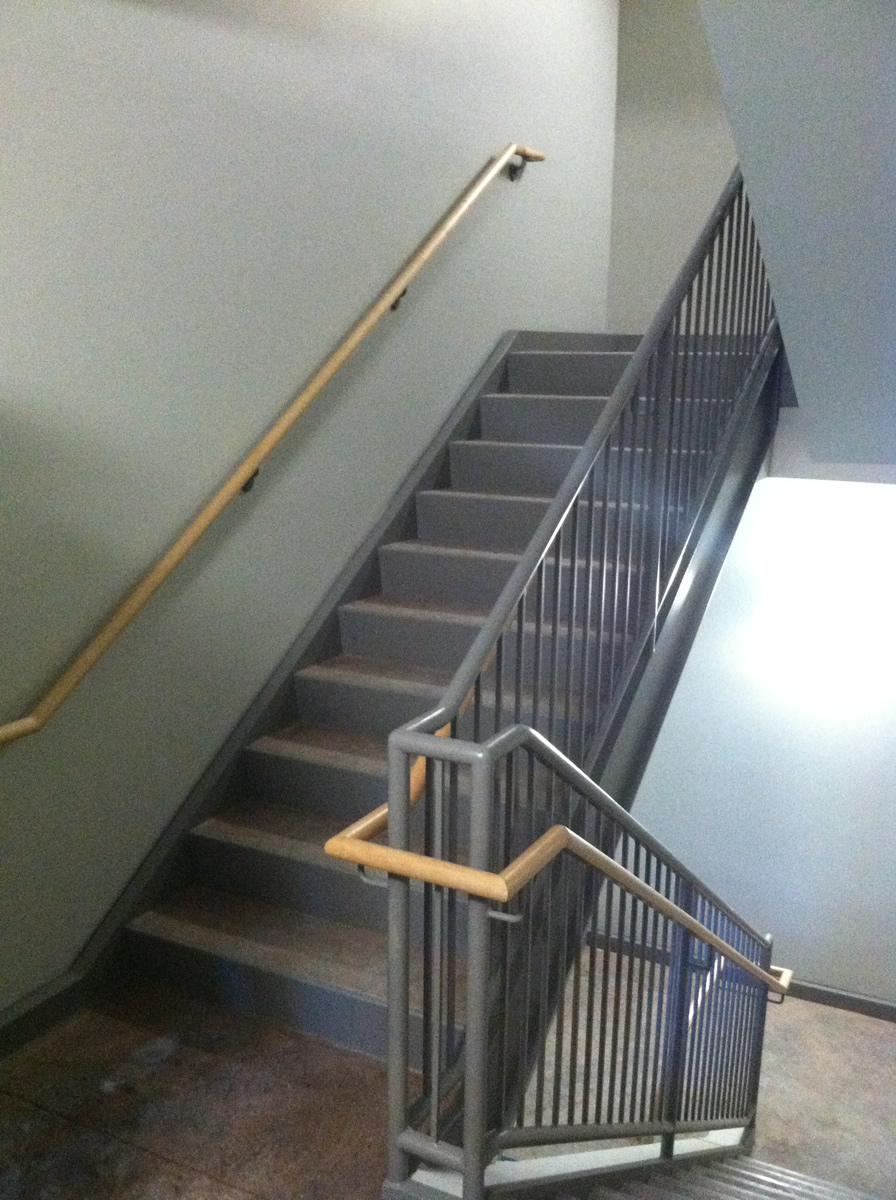 Lovely ... Interior Stair With Steel And Wood Handrails ...