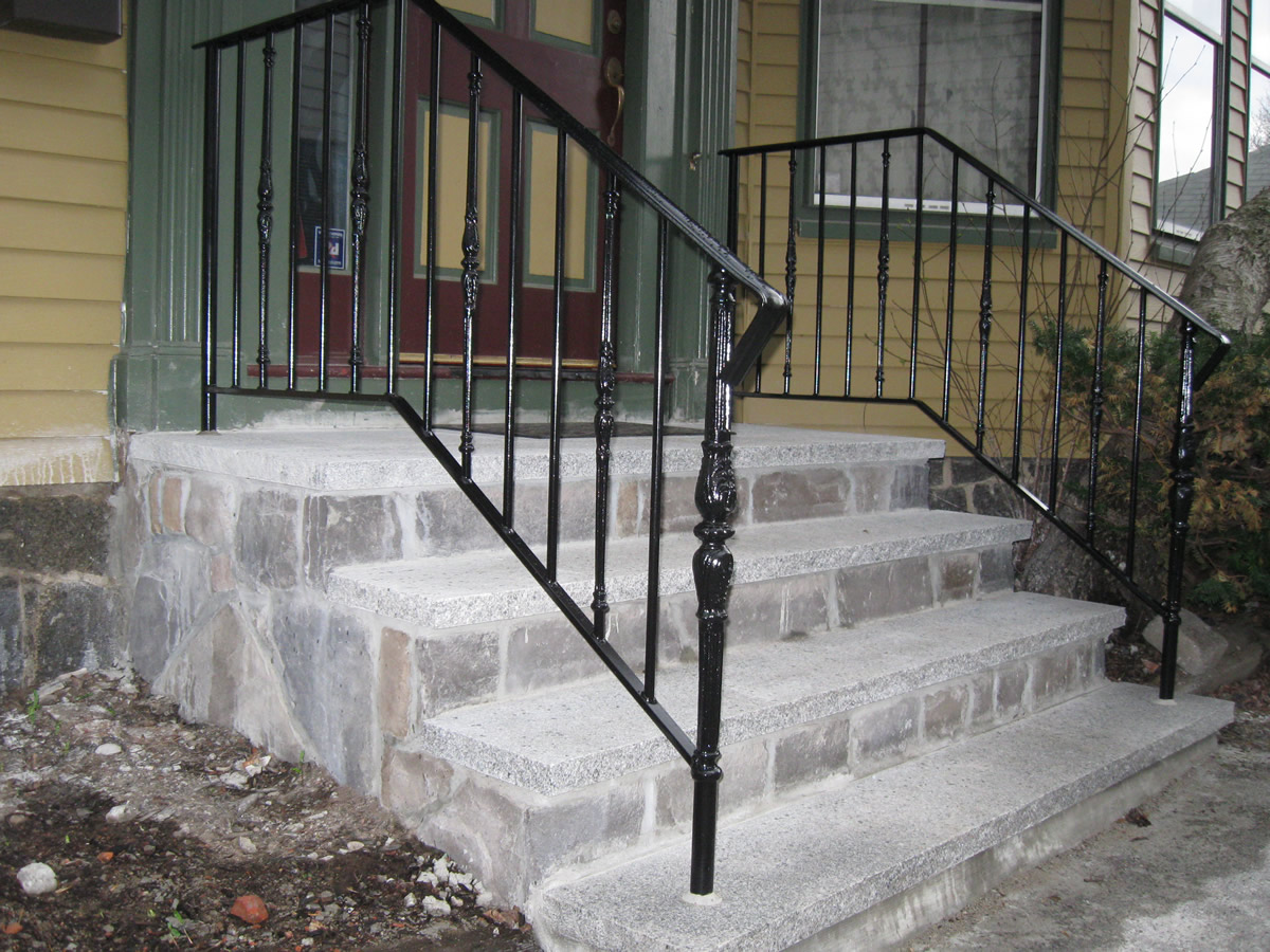 Colonial iron works iron exterior handrails for Exterior railings