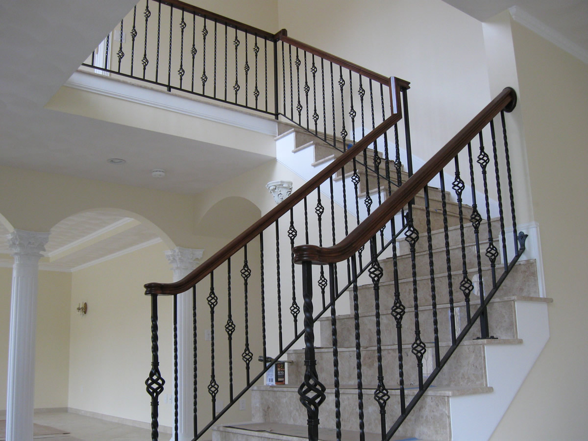 Interior Wrought Iron Railing With Basket Baers