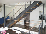 Interior Steel Stair With Cable Railings